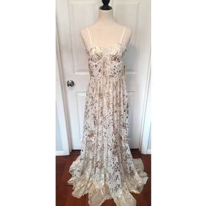 Alice + Olivia Gold & Beige Formal/Prom Gown sz 8